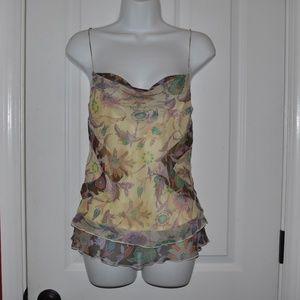 DVF Yellow Floral Silk Layered Cami Tank Top [E8]